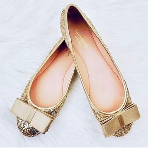 Kate Spade Wiloma Gold Glitter Ballet Flat